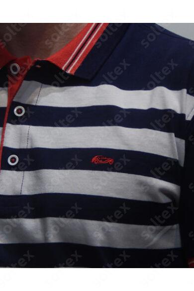Kék-fehér csikos galléros póló
