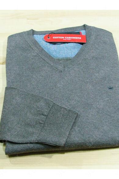 V kivágású pamut pulóver mogyoró színű