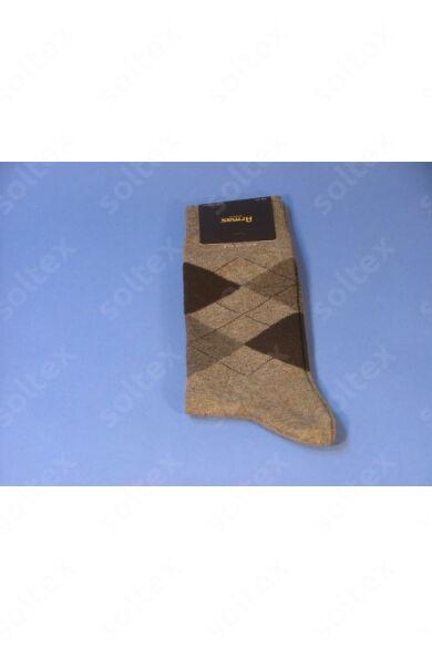 Káró  kockás zokni beige-barna-sötétkék