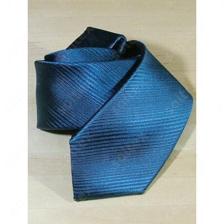 Keresztcsíkos selyem nyakkendő petrolkék színű