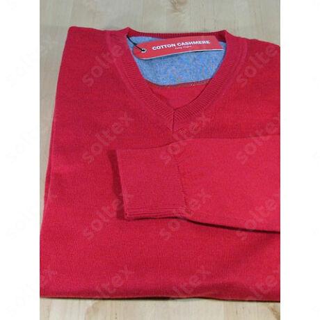 V kivágású pamut pulóver piros