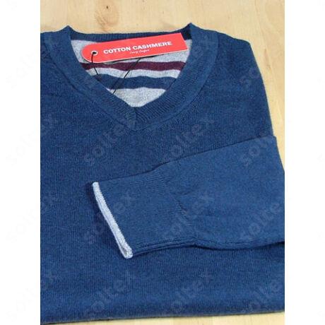 V kivágású pamut pulóver kék
