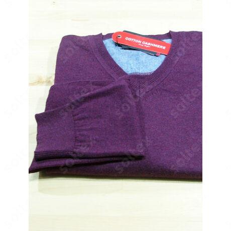 V kivágású pamut pulóver lila